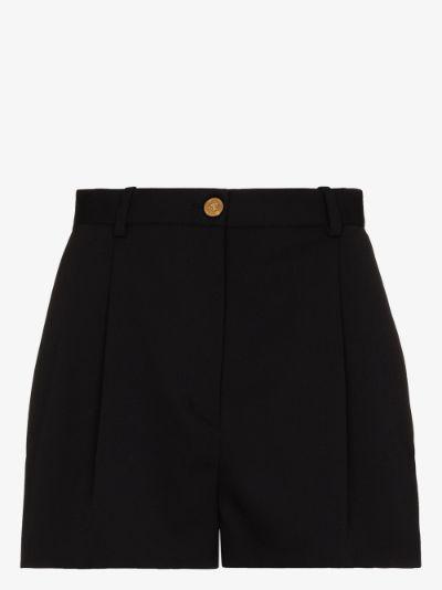 Medusa button wool shorts