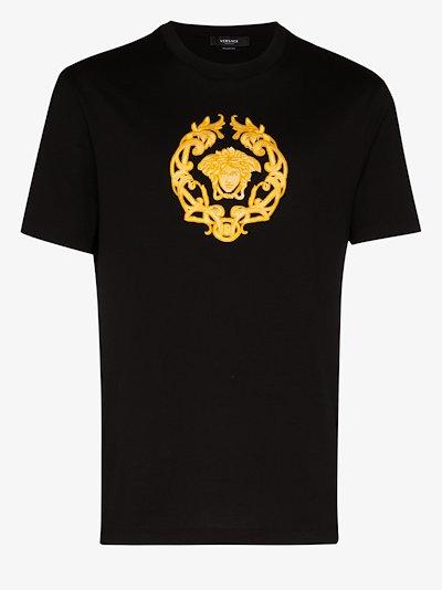 Medusa crest embroidered cotton T-shirt