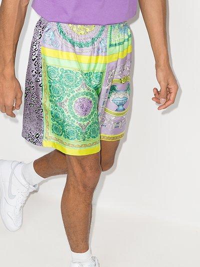 mixed print silk shorts