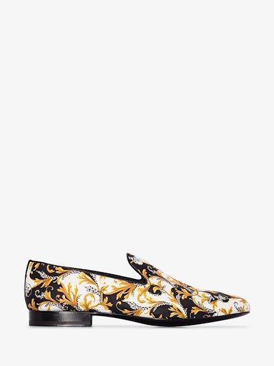 Multicoloured Baroque Print Silk Loafers