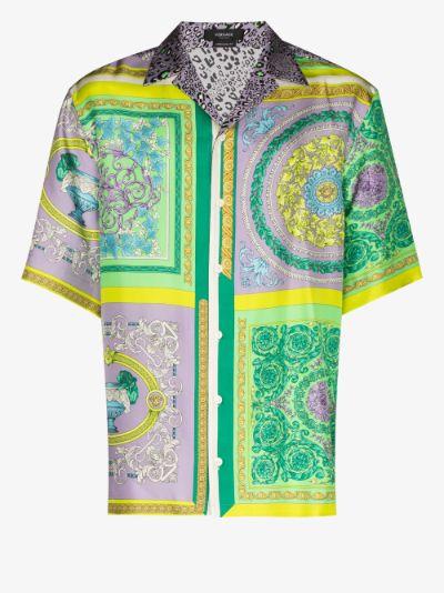 patchwork print silk shirt