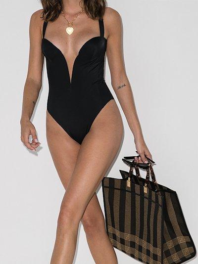 plunging neckline swimsuit