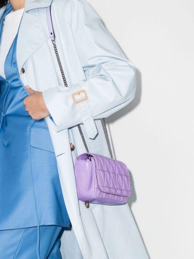 purple Virtus quilted leather shoulder bag