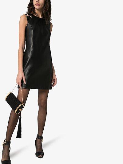 safety pin leather mini dress