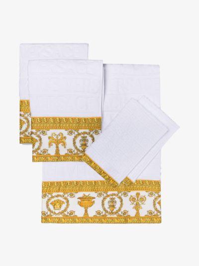 White Baroque Trim Cotton Towel Set