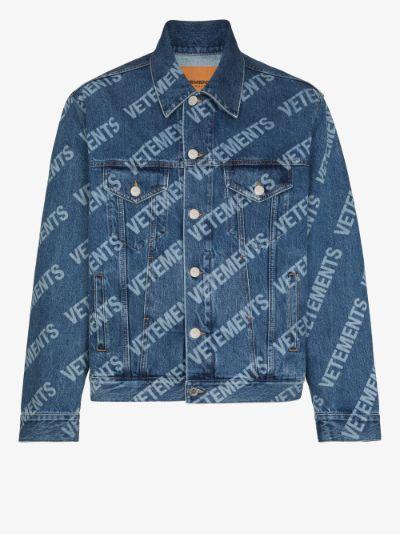 all-over logo denim jacket