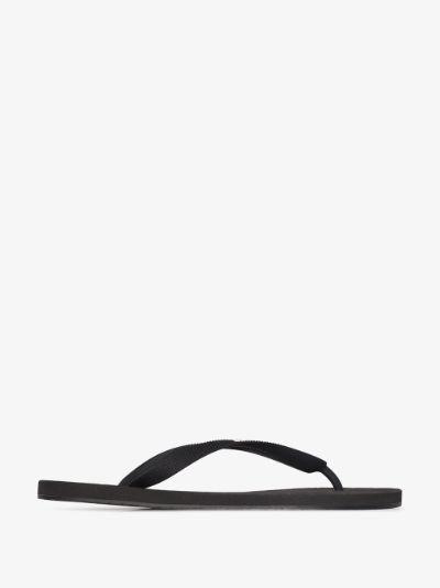 black logo print flip flops