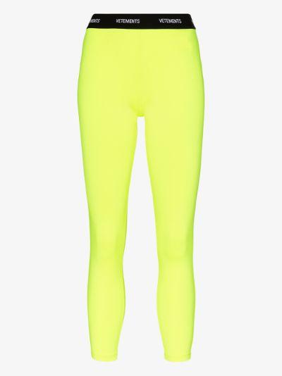 fluorescent logo waistband leggings