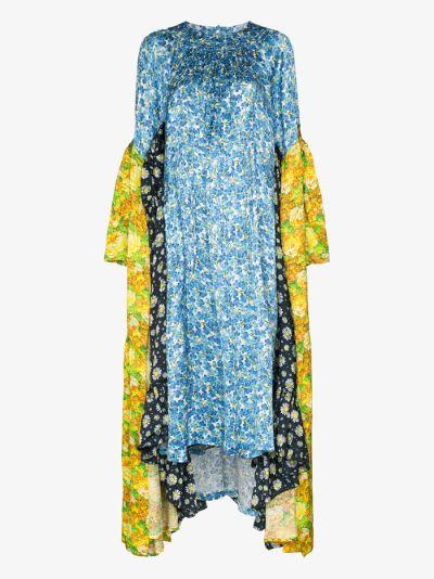 handkerchief floral print midi dress