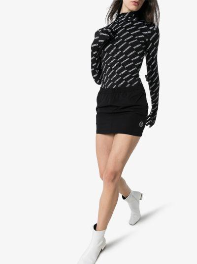 logo-embroidered track mini skirt