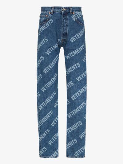 logo print straight leg jeans