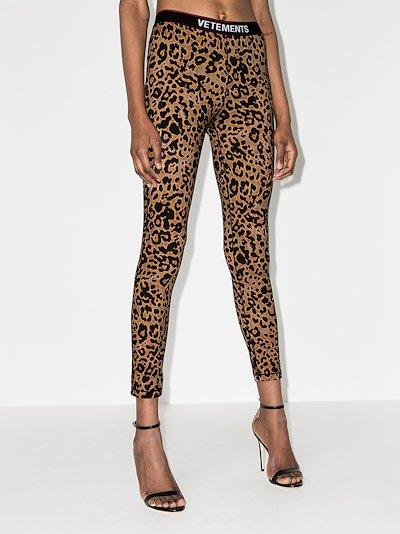 Logo Waistband Leopard Print Leggings