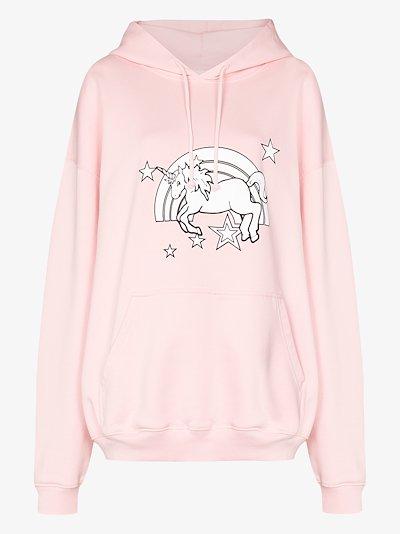 Unicorn print cotton hoodie