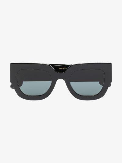 Black angular square sunglasses