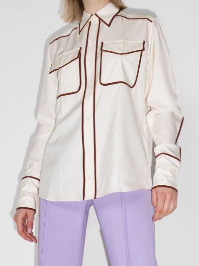 contrast trim silk shirt