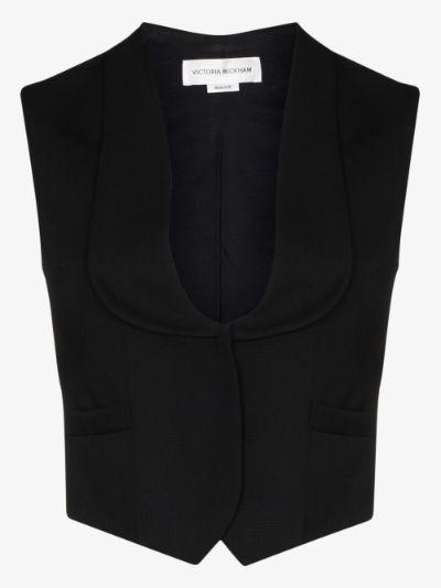 cropped scoop neck waistcoat