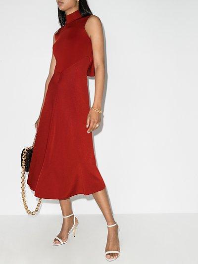 draped high neck midi dress