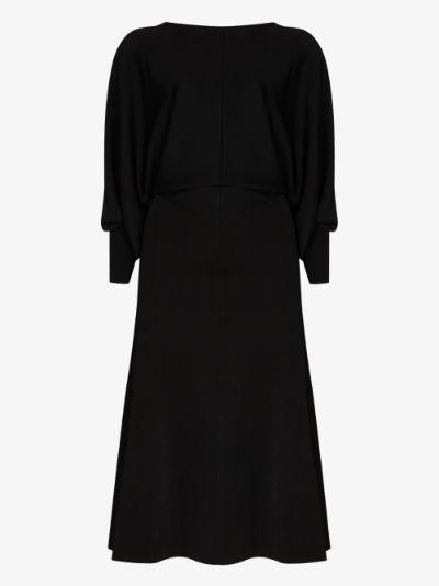 draped open back midi dress