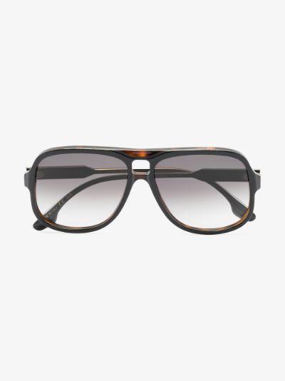 black Milled Navigator aviator sunglasses