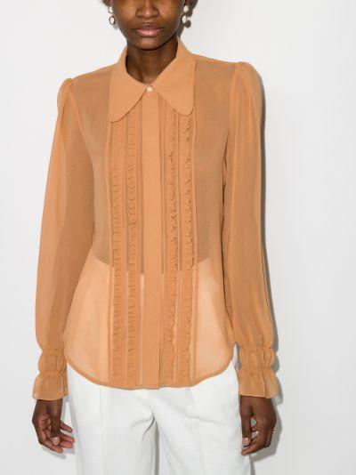 ruffled button-down shirt