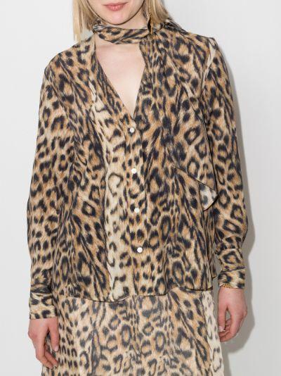 scarf neck leopard print shirt