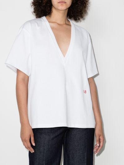 V-neck oversized logo T-shirt