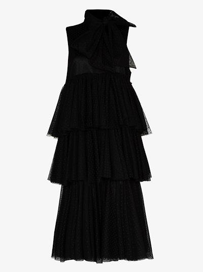 layered tulle midi dress