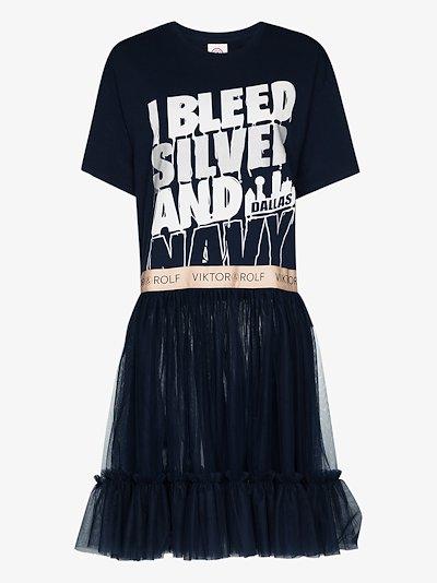 slogan print panelled mini dress