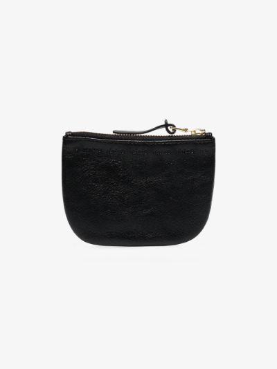 black leather zip-up wallet