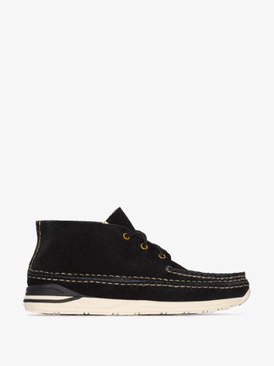 Black suede lace-up moccasins