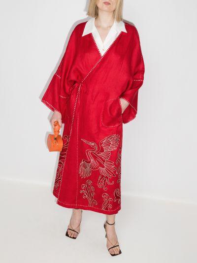 Dancing Heron embroidered kimono dress
