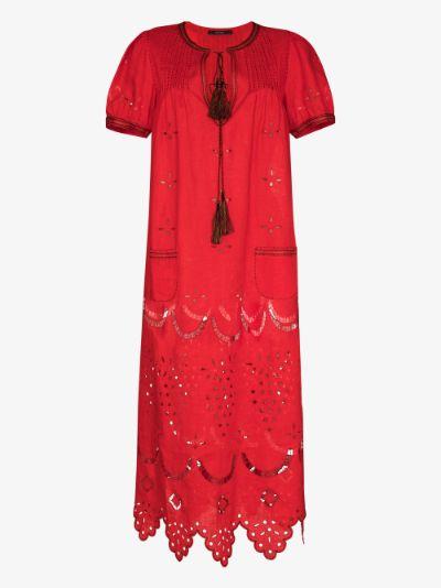 Veronica embroidered linen dress