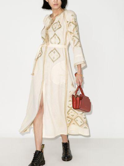 X Browns 50 talisman embroidered linen midi dress