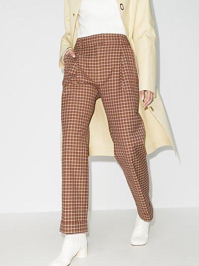brixton high waist check trousers