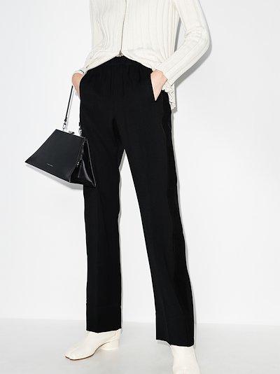 high waist straight leg trousers