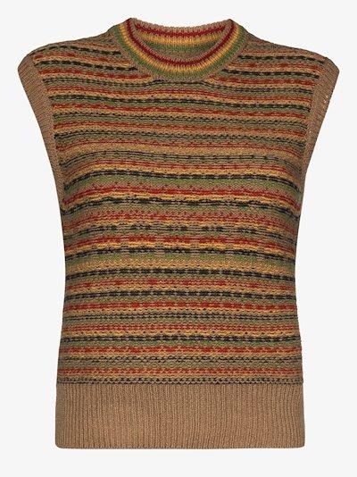 Rasta striped wool knit vest