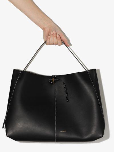 black Ava leather tote bag