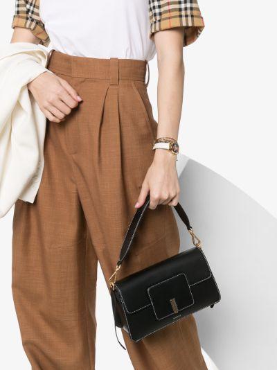 black Georgia leather shoulder bag