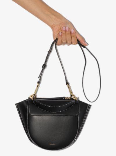Black Hortensia Mini Leather Shoulder Bag