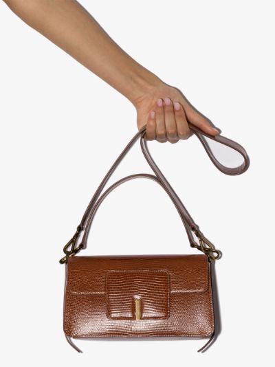 brown Georgia lizard effect leather shoulder bag
