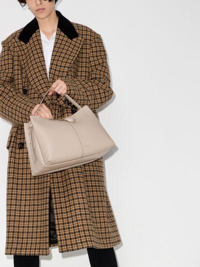neutral Ava medium leather tote bag