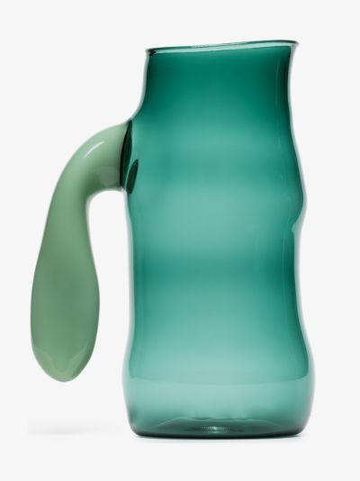 X Jochen Holz green glass jug
