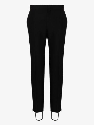 wool stirrup tuxedo trousers