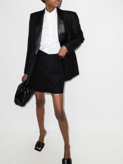 wrap wool mini skirt