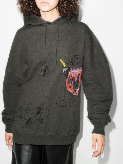 graffiti print cotton hoodie