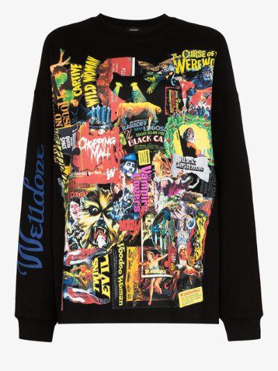 horror collage print cotton sweatshirt