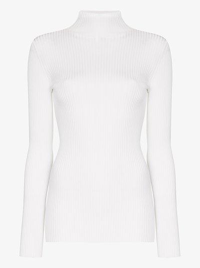 white ribbed turtleneck sweater
