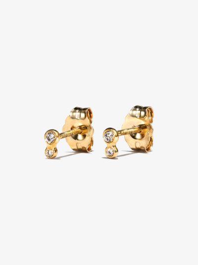 10K yellow gold double nugget diamond earrings