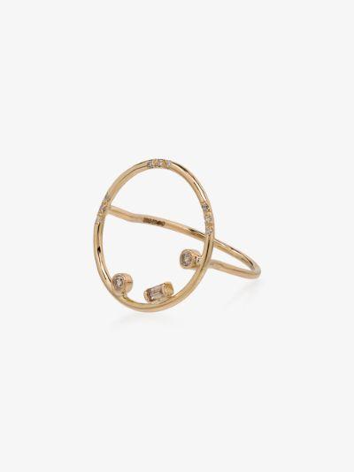 14K yellow gold Gravity circle diamond ring