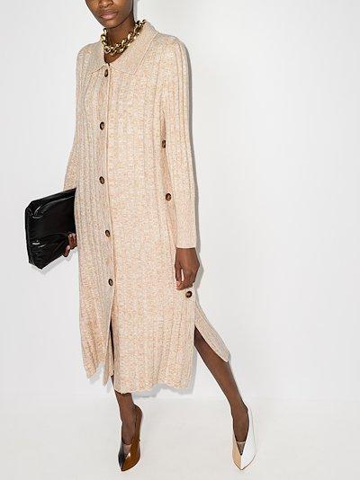 ribbed knit wool cardigan dress